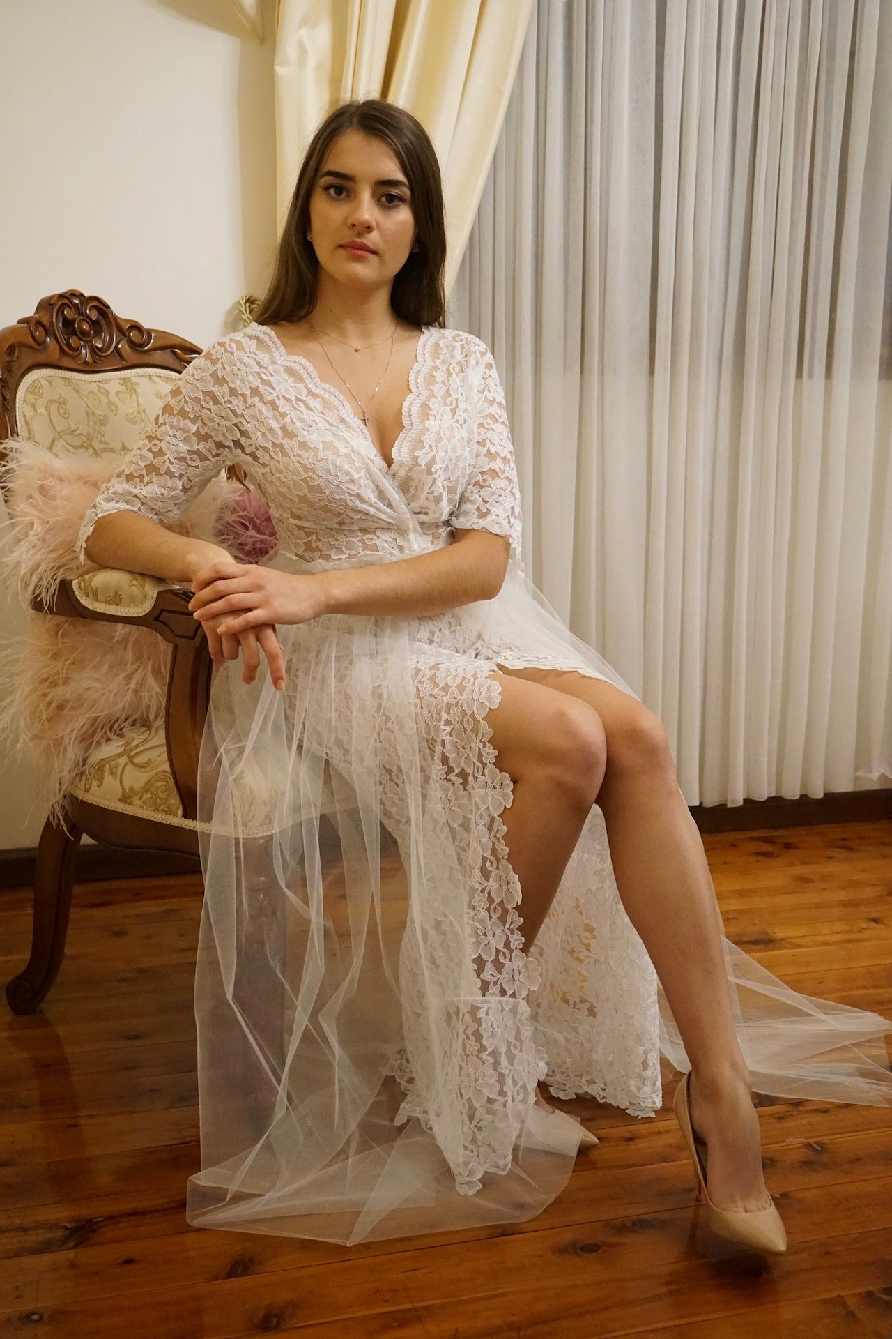 MTTC lace and tulle three piece evening gown product image